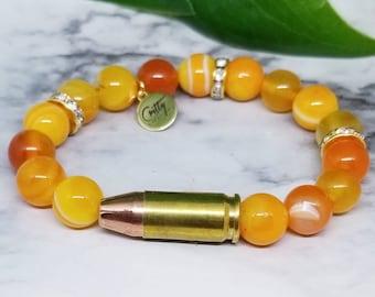 Orange Mango Gemstones 9mm Bullet Bracelet