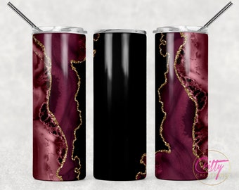 Pink Marble Gold Glitter Tumbler