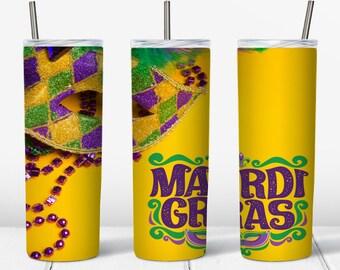 Yellow Mardi Gras Wrap 20oz PNG Digital Download