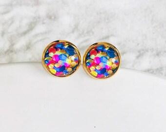 Yellow Blue Confetti Glitter 12mm resin cabochons earrings