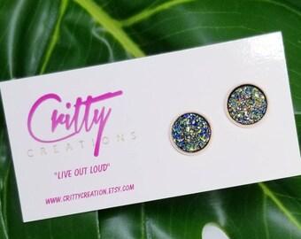 Golden green rainbow /Rose Gold Stud Earrings 12mm
