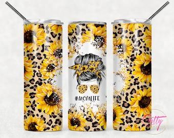 Leopard Sunflower Mom Bun Tumbler