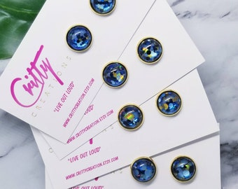 Blue Gold Confetti 12mm resin cabochons earrings