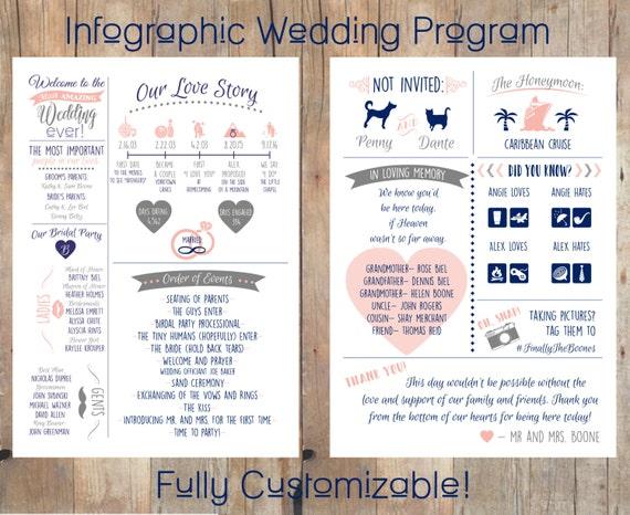 infographic wedding program etsy