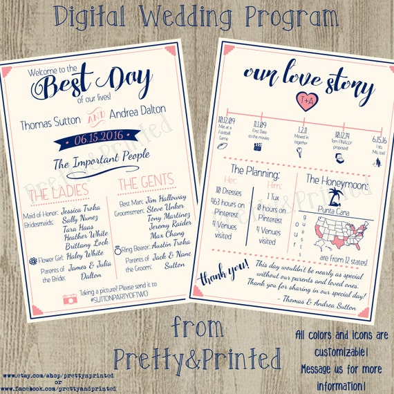 Digital Wedding Program Etsy