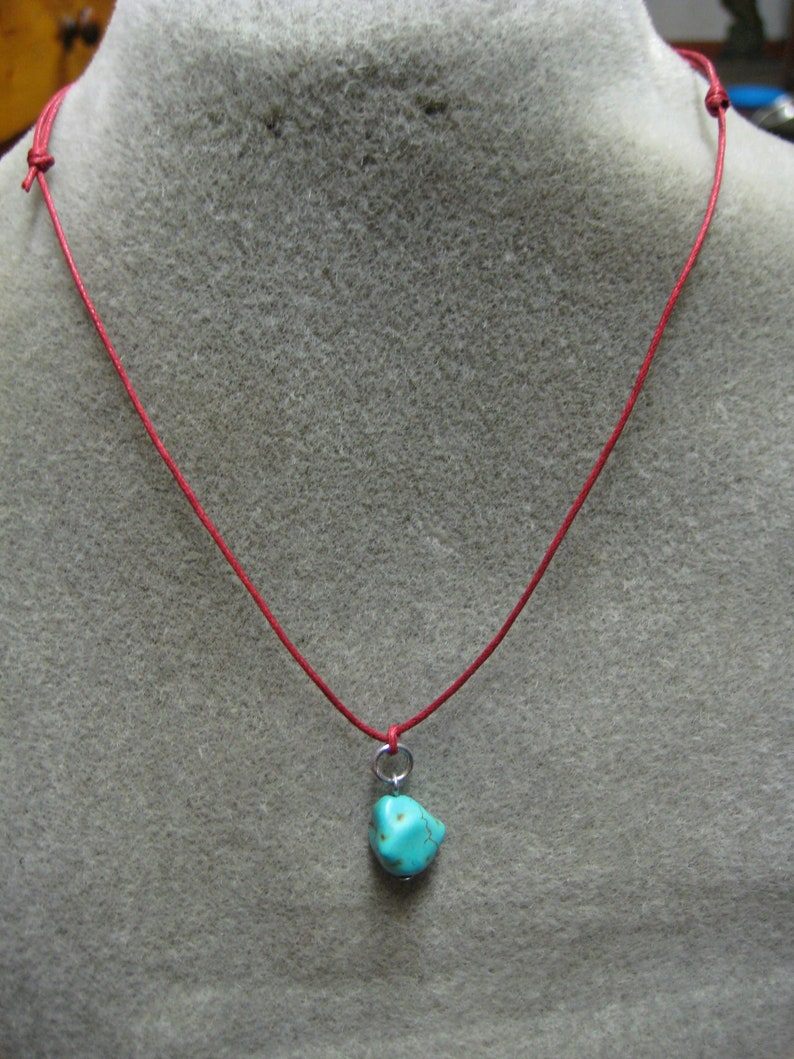 Turquoise pendant on adjustable red cord gifts for girls or boys surfing skating or hiking these will last a long time
