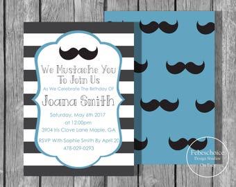 Moustache invitation / Blue Moustache Printed Invite / Boy Birthday Invitations / First Birthday Invitation / First Birthday Invite Boy