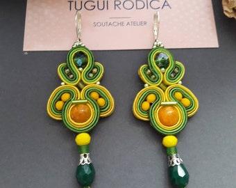 Jaunes & verts boucles d'oreilles ethniques, boucles d'oreilles d'été, coloré Gioielli orecchini, Boucles d'oreilles, cadeau de Noël pour meilleur ami