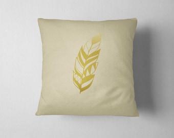 Decorative Pillow, Gold Feather, Throw pillow, Feather pillow, Home decor, Living room decoration, housewarming Gift, Metallic Pillow