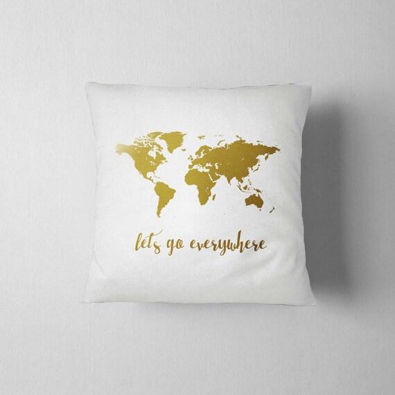 World map pillow gold pillow traveler gift 16x16 decorative etsy image 0 gumiabroncs Choice Image