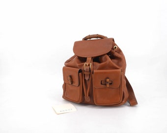 9b8401d4482911 Vintage GUCCI Bamboo backpack brown leather