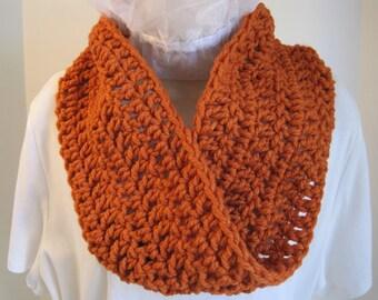 "Crochet cowl, mobius, orange, 34"" x 6"", chunky acrylic yarn"