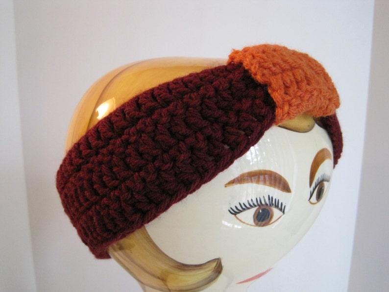 burgundy and pumpkin 20 diameter x 2 wide Crochet Ear Warmer wknot fits teenadult