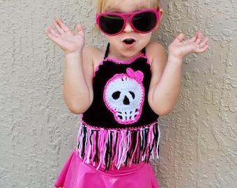Crochet Kids Skull Crop Top, Pink and Black Crop Top, Crochet Crop Top, Kids Halter Top, Skull Halter Top, Pink and Black Skull, Baby Halter