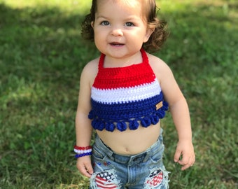 1b12e317c32f3b Crochet Patriotic Pom Pom Crop Top