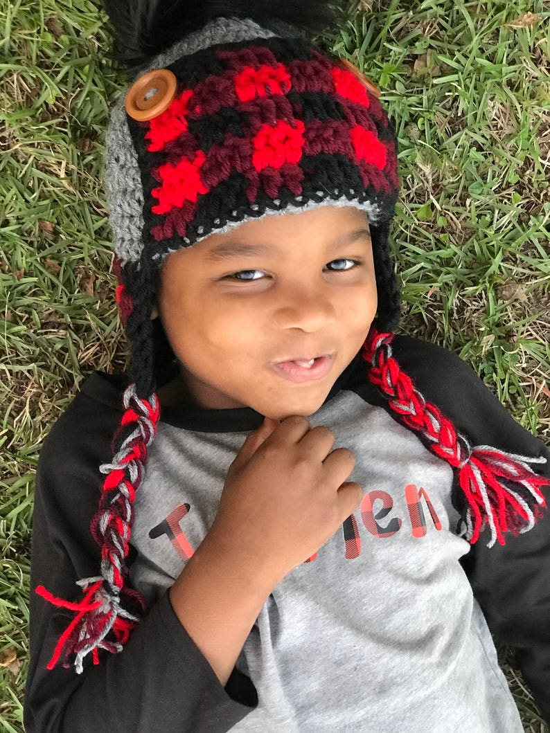 e8a901208 Crochet Buffalo Plaid Trapper Hat Kids Lumberjack Hat Plaid | Etsy
