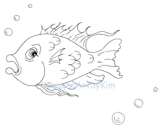 Doodle Damsel Fish Mindfulness Relaxing Calm Stressless Zentangle Adult Art Therapy Zen Coloring Page Printable Instant Digital Down