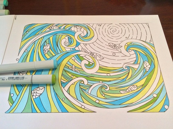 Printable Waves And Fish Coloring Page Ocean Fun Play
