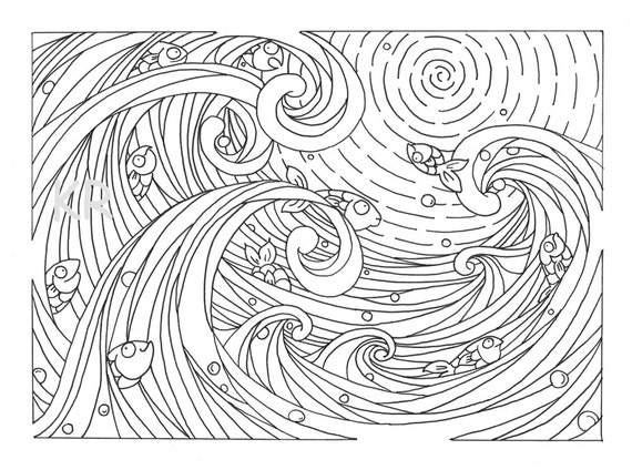 Printable Waves and Fish Coloring