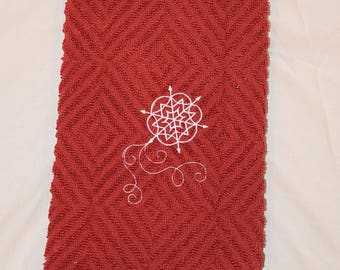 Snowflake Winter Towel Red