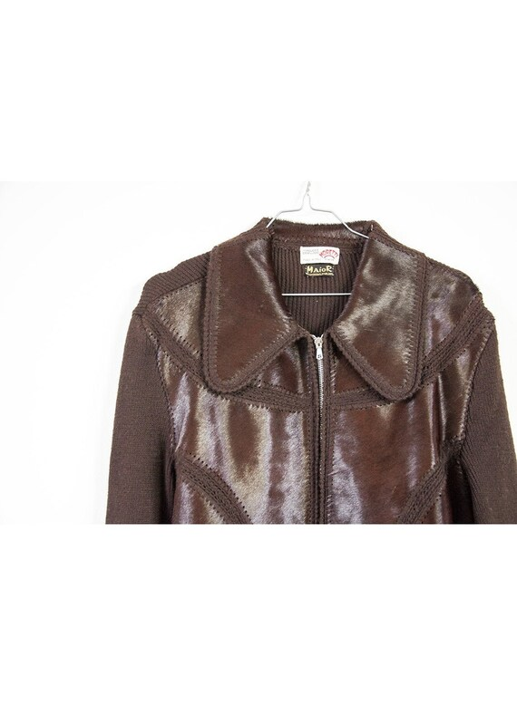 1970's patched leather & knitted cardigan SIZE 36-