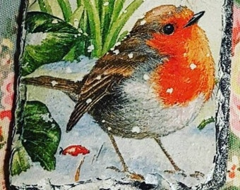Hand-made Robin red breast decoupaged slate coaster