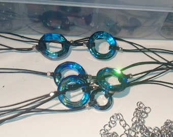 20mm Bermuda Blue swarovski crystal ring choker