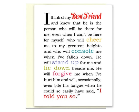 Best Friends Day Gift For Guy Friend Friend Card Messages Etsy