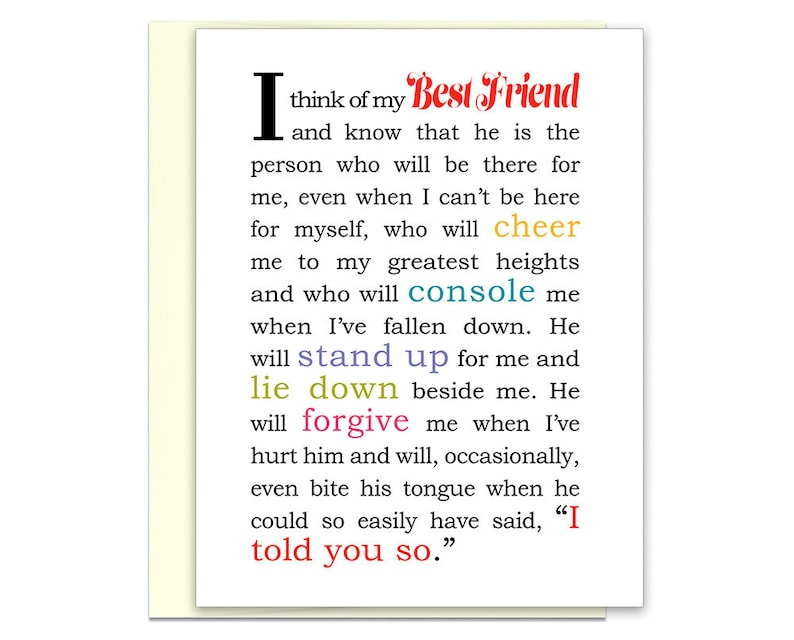 Best Friends Day Gift For Guy Friend Card Messages