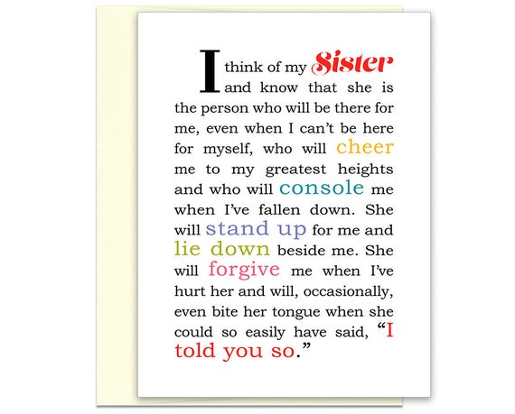 To My Sister Card Big Best