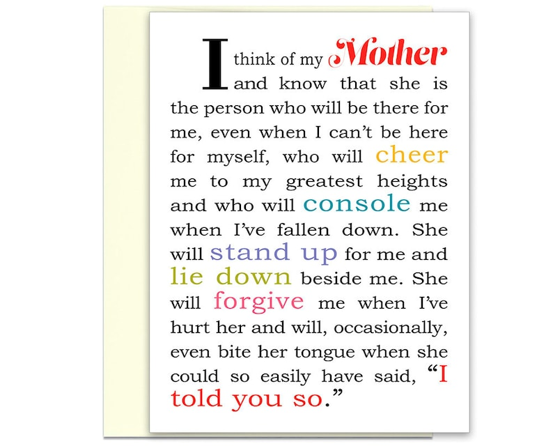 Mom Card Mother From Son Gift Daughter Best