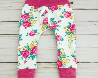 41f4d3a49 Baby girl floral pants, handmade baby girl pants, cute baby girl clothes,  baby shower gift for girls, floral and pink baby pants, baby pink