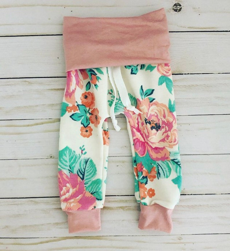 fb584f62e Baby girl floral leggings baby girl floral pants handmade | Etsy
