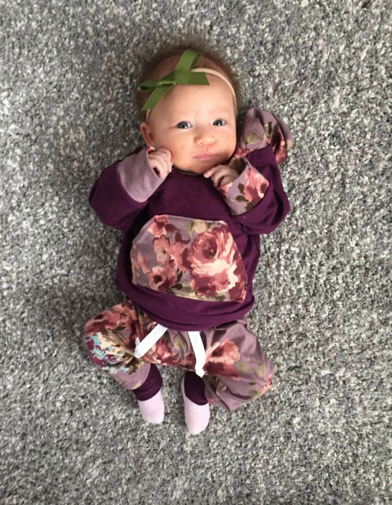 8f622cdf062 Baby girl outfit purple baby outfit floral baby outfit