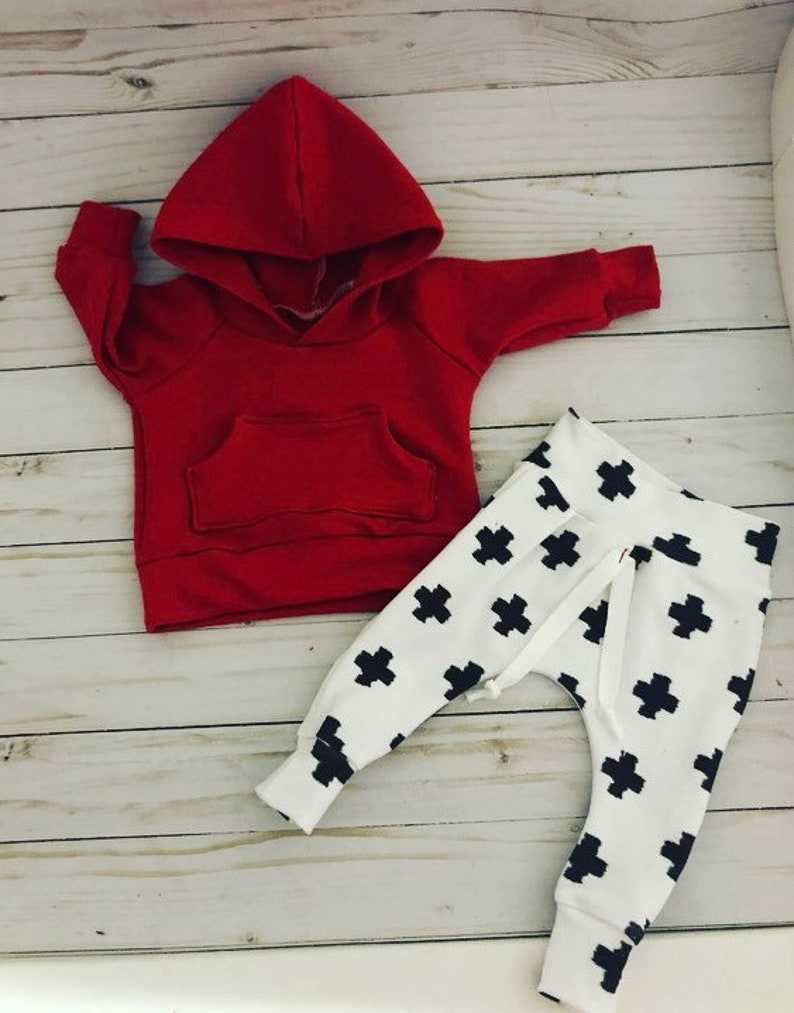 55e5138985f77 Baby boy clothes, red baby boy hoodie, swiss cross baby pants, coming home  outfit, handmade baby clothes, newborn boy outfit, baby clothing,