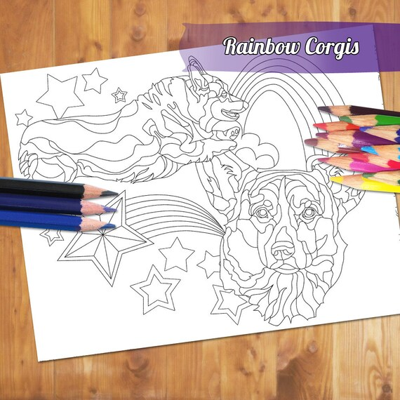 Dog Adult Coloring Page Rainbow Corgi Coloring Book Etsy