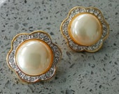 Vintage Signed EVCO Clip on Earrings -Flower Design Faux Pearl and Clear Rhinestones
