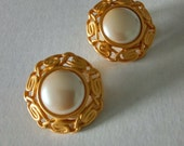 Signed Monet Faux Button Pearl and Matte Gold-tone Metal Clip-on Earrings