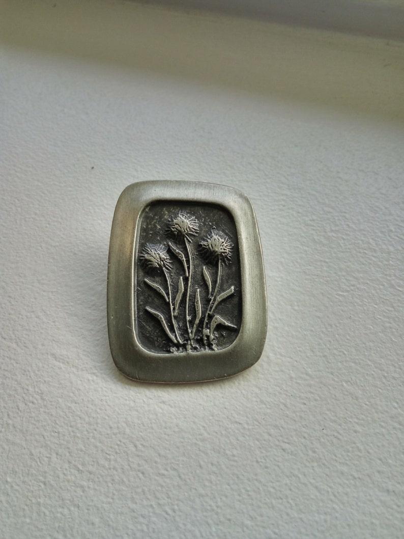 R Teene Sweden Vintage Pewter Floral Design Brooch Pin