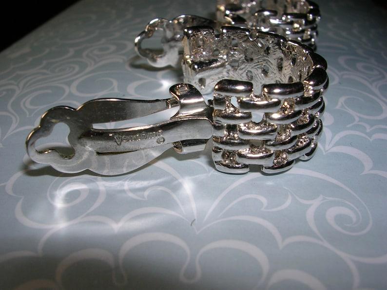 Vintage Signed Vendome Silver WeaveLink Clip Earrings