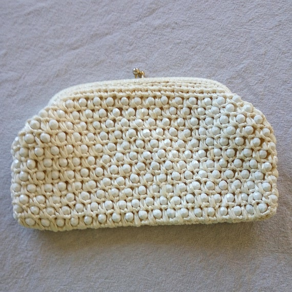 7c690b7ff42 Made in Japan Vintage Clutch Purse - Beige Color Raffia Ribbon and White  Multi Faceted White Beads