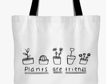 Plants are Friends Tote Bag- Plant lover- Gardener- Vegan- Tumblr-Hipster