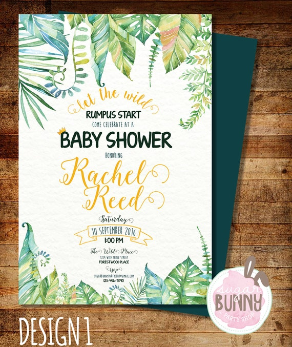 Printable Where The Wild Things Are Baby Shower Invitation Etsy