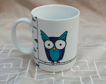 Hand-painted blue OWL Cup