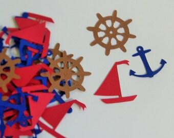 Sailor Confetti - 120 pieces - Sailboat, anchor, and marine steering wheel  confetti - birthday boy confetti - marine confetti