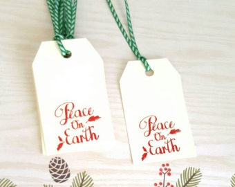 Gift Tags - Peace on Earth Gift Tags - Christmas Gift Tags - Christmas tags - Chistmas favor tags- set of 8