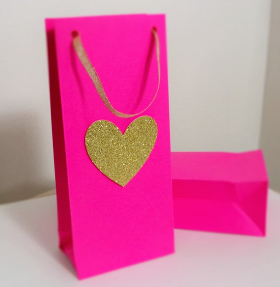 pink and gold favor bag 6 pcs paper bag treat baggoodie etsy