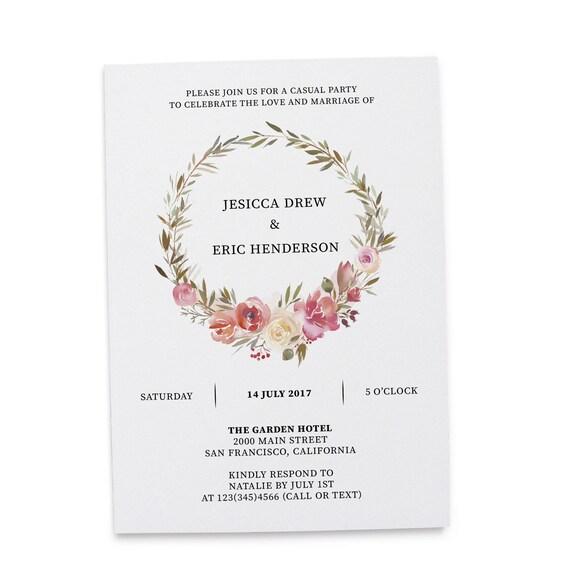 Elopement Reception Invitation Cards Wedding Reception Invitations Floral Invitation Card Floral Wreath Design 270