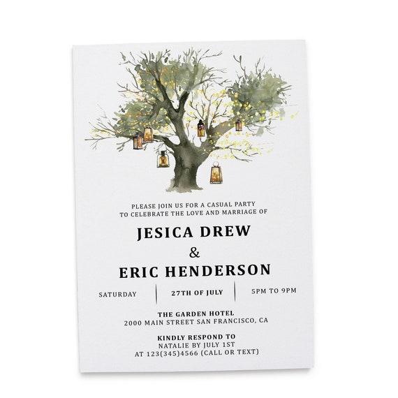 Rustic Elopement Reception Invitation Cards Wedding Reception Invitations Floral Invitation Card Lantern Tree Design 275