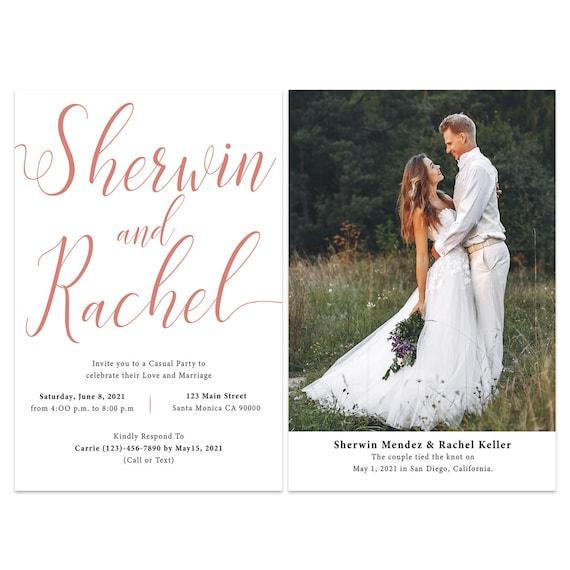 Simple Reception Card Elopement Reception Invitation Cards Wedding Reception Invitations 446